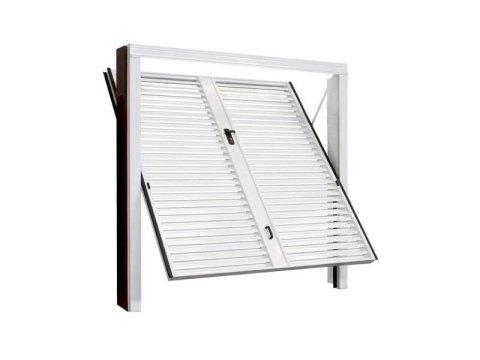 porta basculante in acciaio con alette a persiana